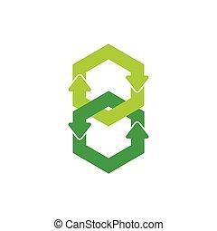 ketting, groene, vector, cirkel, pijl, hergebruiken, aangesluit, symbool