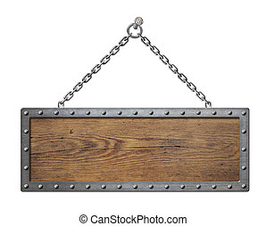 ketting, houten, metaal, vrijstaand, ondertekenen plank
