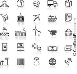 ketting, levering, iconen, reflecteren, lijn, witte