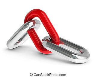 ketting, met, rood, schakel, #2