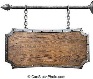 ketting, metaal, vrijstaand, meldingsbord, hout, hangend