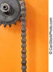 ketting, tandrad, metaal, achtergrond, sinaasappel, closeup.