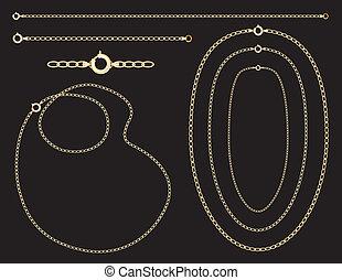 kettingen, gouden bracelet, halssnoeren