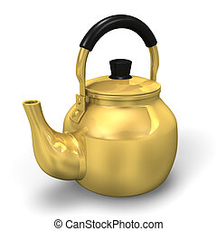 Kettle. 3D render illustration. Isolated on White.