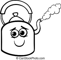 kettle and steam coloring page - Black and White Cartoon ...