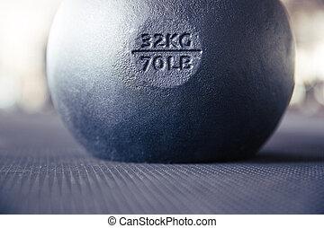 Closeup image of a kettle ball