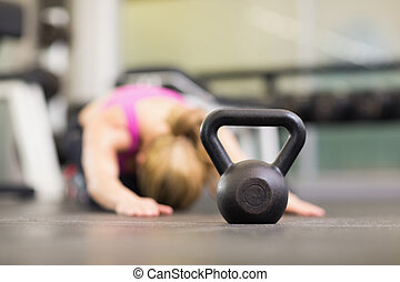 Kettle bell on floor in the gym