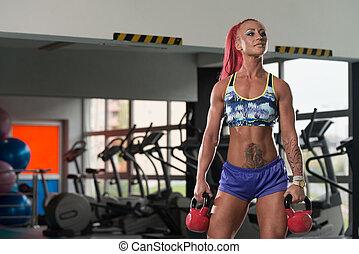 kettle-bell, vrouw, het uitoefenen, fitness