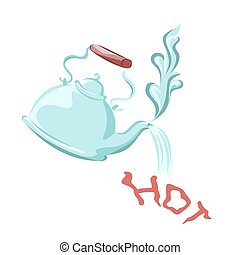 Kettle boil. Vector illustration.
