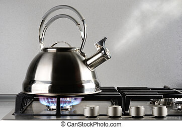 Kettle boiling - Tea kettle with boiling water on gas stove