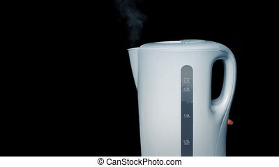 Kettle Boils And Clicks Off - Generic white kettle boils and...