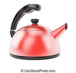 Kettle isolated on white background. 3d rendering image