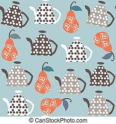 Kettle   fantasy seamless pattern. It is located in swatch menu, vector image. Cute tile background for design. Abstract backdrop.