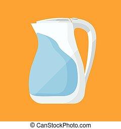 Kettle flat icon. Plastic kitchenware illustration