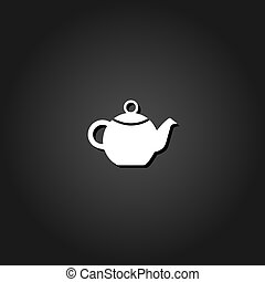 Kettle for tea icon flat.