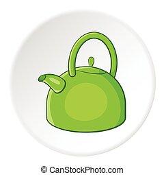 Kettle icon, cartoon style