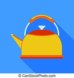 Kettle icon in flate style isolated on white background. Kitchen symbol stock vector illustration.