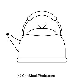 Kettle icon in outline style isolated on white background. Kitchen symbol stock vector illustration.