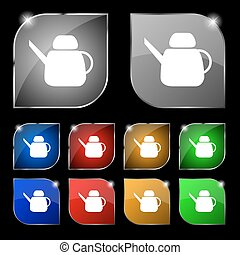Kettle Icon sign. Set of ten colorful buttons with glare. Vector
