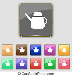 Kettle Icon sign. Set with eleven colored buttons for your site. Vector
