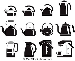 Kettle icons set. Vector illustrations.