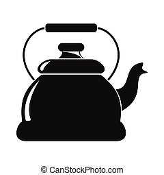 Kettle in black simple silhouette style icons vector illustration for design and web isolated