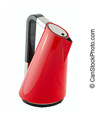 Kitchen appliances - an electric kettle of red color, isolated on a white background