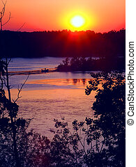 Kettle Moraine Wisconsin Sunset - Sunset over Rice Lake in...