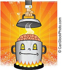A heaping kettle of brains boiling on the stove in a smiling pot, contemplating complicated ideas
