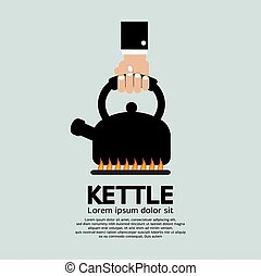 Kettle On A Fire Stove.