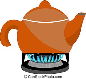 kettle on a gas stove vector or color illustration