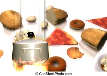 Kettle on Fire with Background of Food
