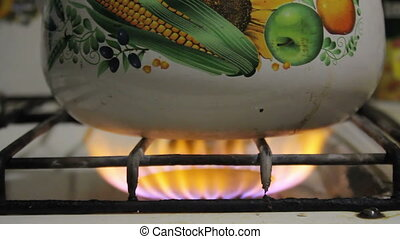 kettle on the gas stove