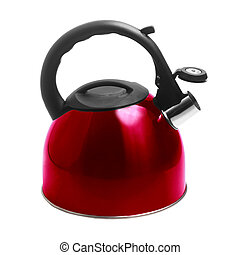 kettle red isolated on white background with clipping path