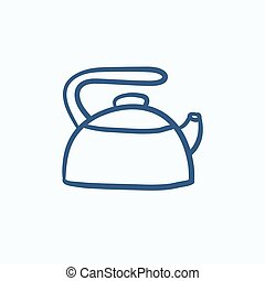 Kettle sketch icon.