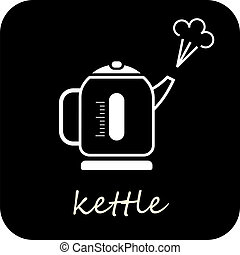 Boiling kettle - isolated vector icon on black background.