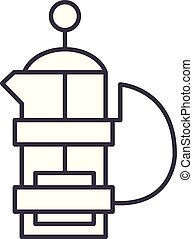 Kettle with a press line icon concept. Kettle with a press vector linear illustration, symbol, sign