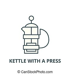 Kettle with a press vector line icon, linear concept, outline sign, symbol