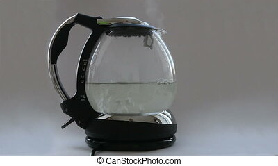 Kettle with boiling water