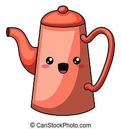 kettle with kawaii face design