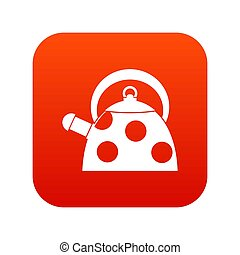 Kettle with white dots icon digital red