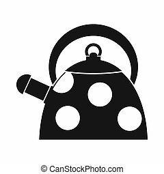 Kettle with white dots icon, simple style