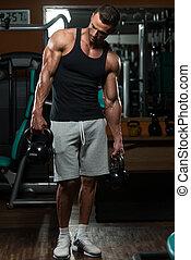kettlebell, мускулистый, упражнение, человек
