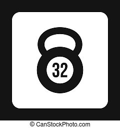 Kettlebell 32 kg icon, simple style