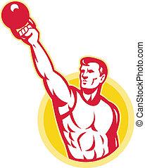 kettlebell, addestramento, esercizio, peso, retro