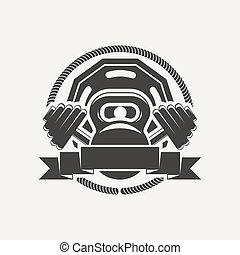 kettlebell and dumbbell logo - Emblem of the cross bars for...