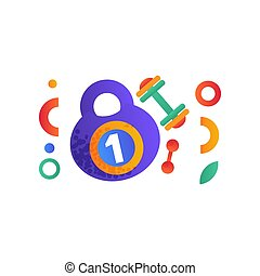 Kettlebell and dumbbell, sport, fitness, healthy lifestyle symbols vector Illustration on a white background