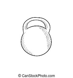 kettlebell, croquis, icon.