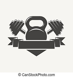 kettlebell, e, dumbbell, com, baner, logotipo