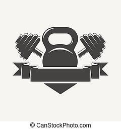 kettlebell, e, dumbbell, con, baner, logotipo